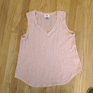 Pink tank with sheer back